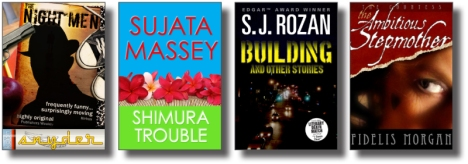 4 recent covers: Keith Snyder, Sujata Massey, S.J. Rozan, Fidelis Morgan